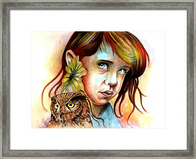 The Girl And The Owl Framed Print by Ole Hedeager Mejlvang