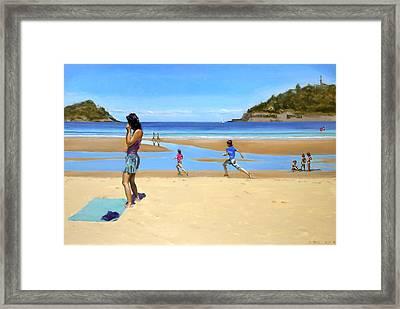 The Girl At La Concha Beach Framed Print by Gordon Bell