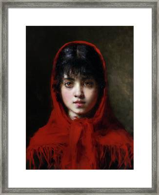 The Girl In The Red Shawl Framed Print