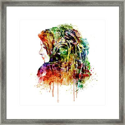 The Girl Is A Dj Framed Print by Marian Voicu