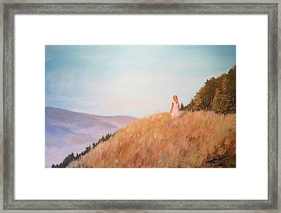 The Girl On The Hill Framed Print by Alan Lakin