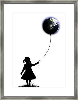 The Girl That Holds The World - White  Framed Print by Nicklas Gustafsson