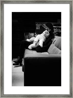 Framed Print featuring the photograph The Girl The Polar Bear And The Phone by John Williams