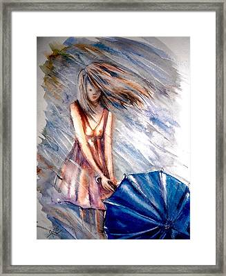 The Girl With A Blue Umbrella Framed Print