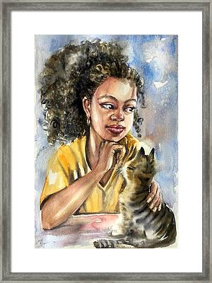 The Girl With A Cat Framed Print