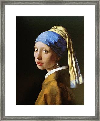 The Girl With A Pearl Earring Framed Print by MotionAge Designs