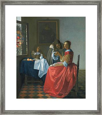 The Girl With A Wineglass Framed Print by Jan Vermeer