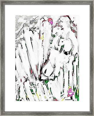 The Girl With Lambs Framed Print
