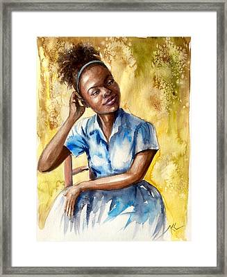 The Girl With The Blue Dress Framed Print