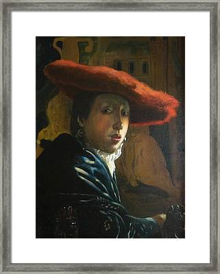 The Girl With The Red Hat By D.amendola After Vermeer Framed Print by Dominique Amendola