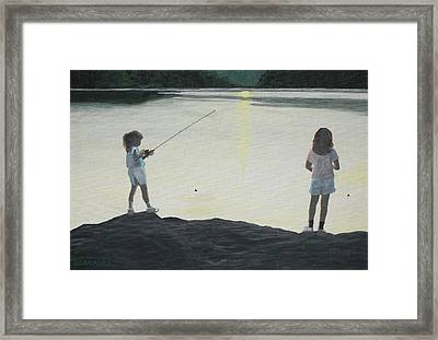 The Girls At The Lake Framed Print by Candace Shockley