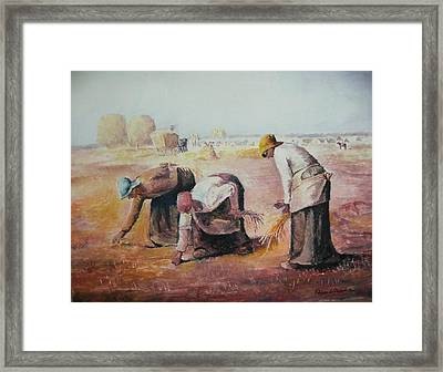 The Gleaners After Millet By My Dad Framed Print by Anne-Elizabeth Whiteway