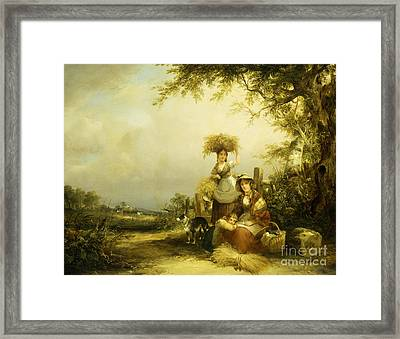 The Gleaners Shirley, Hants Framed Print by William Shayer Snr