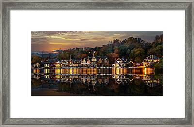 The Glow Of Boat House Row Reflection Framed Print