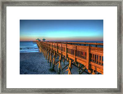 The Glowing Folly Beach Pier Sunrise Charleston South Carolina Art Framed Print
