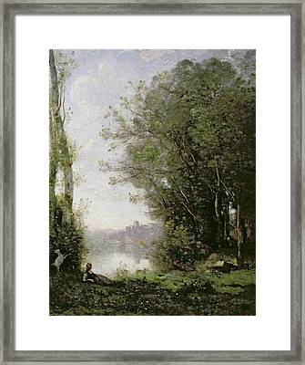 The Goatherd Beside The Water  Framed Print by Jean Baptiste Camille Corot