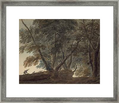 The Goatherd- View On The Galleria Di Sopra Above The Lake Of Albano Framed Print by John Robert Cozens