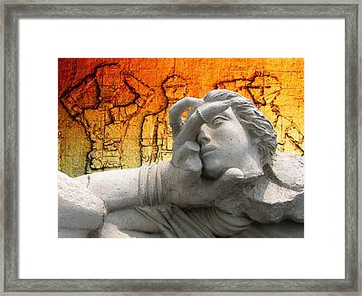 The Gods Watched In Astonishment As The Hero Battled On Against All Odds Framed Print