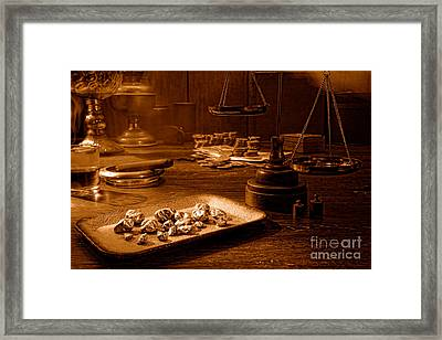 The Gold Trader Shop - Sepia Framed Print