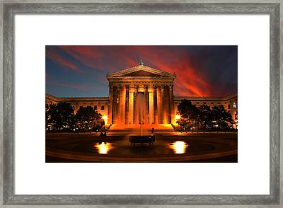 The Golden Columns - Philadelphia Museum Of Art - Sunset Framed Print