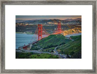 The Golden Gate At Sunset Framed Print by Rick Berk