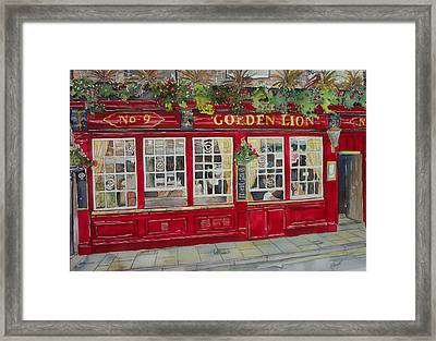 The Golden Lion Pub Framed Print by Victoria Heryet