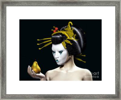 The Golden Pear Framed Print by Sandra Bauser Digital Art