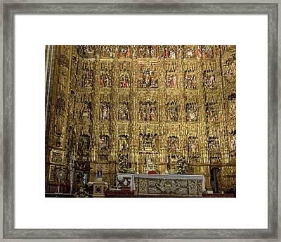 The Golden Retablo Mayor - Cathedral Of Seville - Seville Spain Framed Print