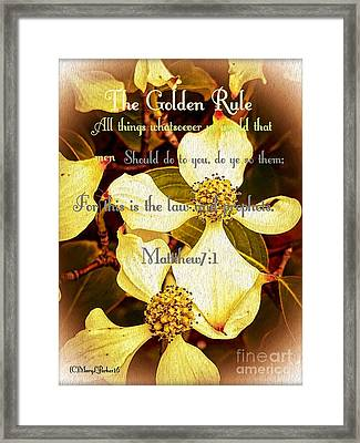 The Golden Rule Framed Print by MaryLee Parker