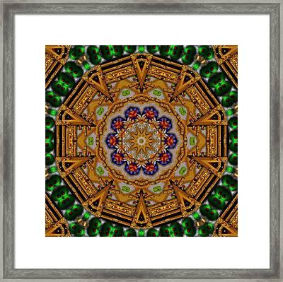The Golden Sacred Mandala In Wood Framed Print by Pepita Selles