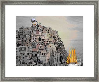 Framed Print featuring the painting The Golden Sails by Mojo Mendiola