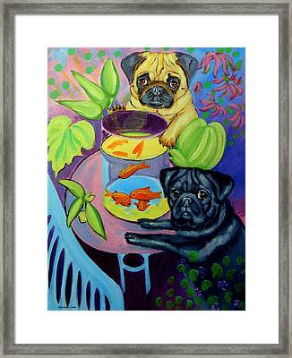 The Goldfish Bowl - Pug Framed Print by Lyn Cook
