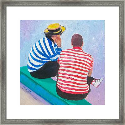 The Gondoliers - Venice Framed Print