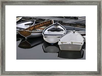 Skiffs On Placid Waters-coastal Maine Framed Print