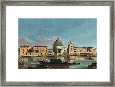 The Grand Canal With The Church Of San Simeone Piccolo Framed Print
