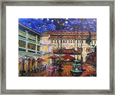 The Grand Dame's Courtyard Cafe  Framed Print by Belinda Low