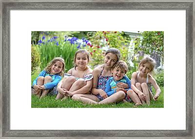 The Grand Kids In The Garden Framed Print