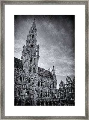 The Grandeur Of The Grand Place Brussels In Black And White  Framed Print