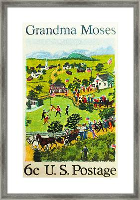 The Grandma Moses Stamp Framed Print