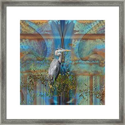 The Great Blue Heron In Abstract Framed Print