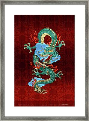 The Great Dragon Spirits - Turquoise Dragon On Red Silk Framed Print by Serge Averbukh