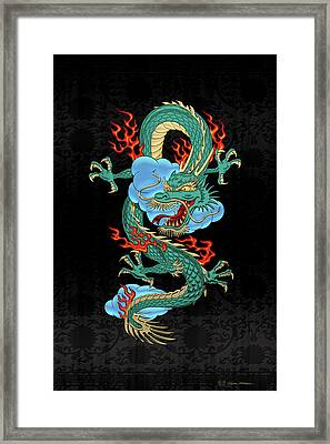 The Great Dragon Spirits - Turquoise Dragon On Black Silk Framed Print by Serge Averbukh