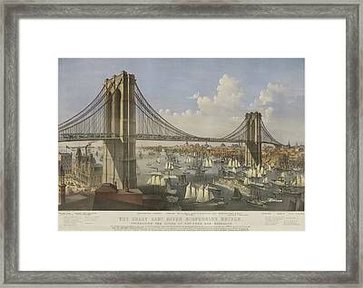 The Great East River Suspension Bridge Framed Print by Currier and Ives