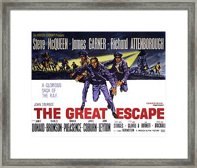 The Great Escape Movie Vintage Lobby Poster  1963 Framed Print by Daniel Hagerman