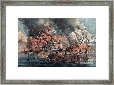 The Great Fight At Charleston  South Carolina Framed Print by American School