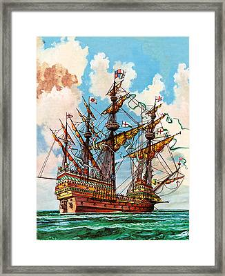 The Great Harry, Flagship Of King Henry Viii's Fleet Framed Print by Peter Jackson