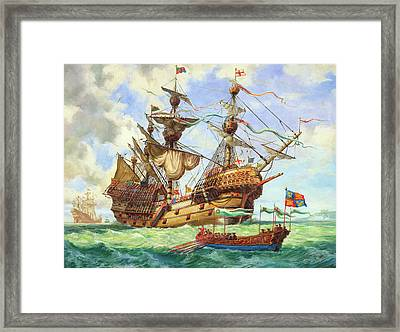 The Great Harry, Flagship Of King Henry's Fleet Framed Print by CL Doughty