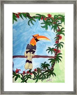 The Great Indian Hornbill- Gond Style Painting Framed Print by Diana Shalini