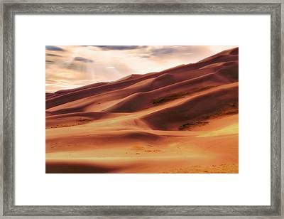 Framed Print featuring the photograph The Great Sand Dunes Of Colorado - Landscape - Sunset by Jason Politte