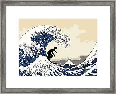 The Great Surfer Off Kanagawa Framed Print by Julia Jasiczak